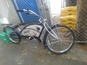 A bike with advertising
